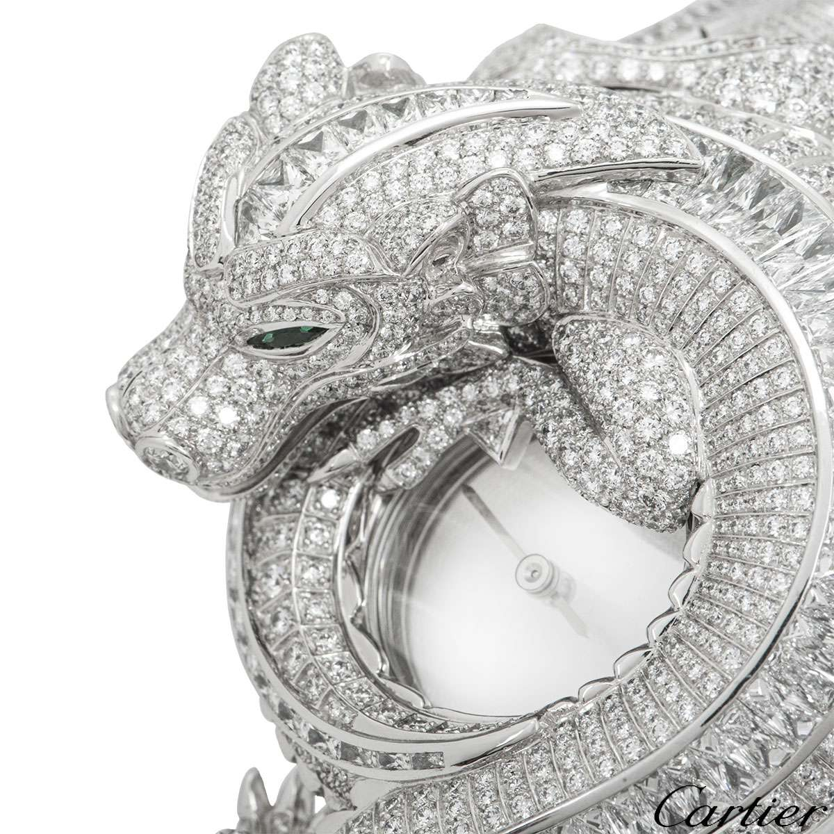 Cartier White Gold Piece Unique Dragon Mystery Watch